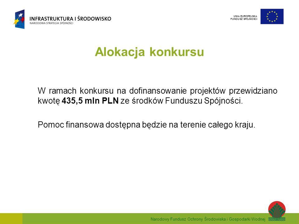 Narodowy Fundusz Ochrony Środowiska i Gospodarki Wodnej UNIA EUROPEJSKA FUNDUSZ SPÓJNOŚCI Alokacja konkursu W ramach konkursu na dofinansowanie projektów przewidziano kwotę 435,5 mln PLN ze środków Funduszu Spójności.