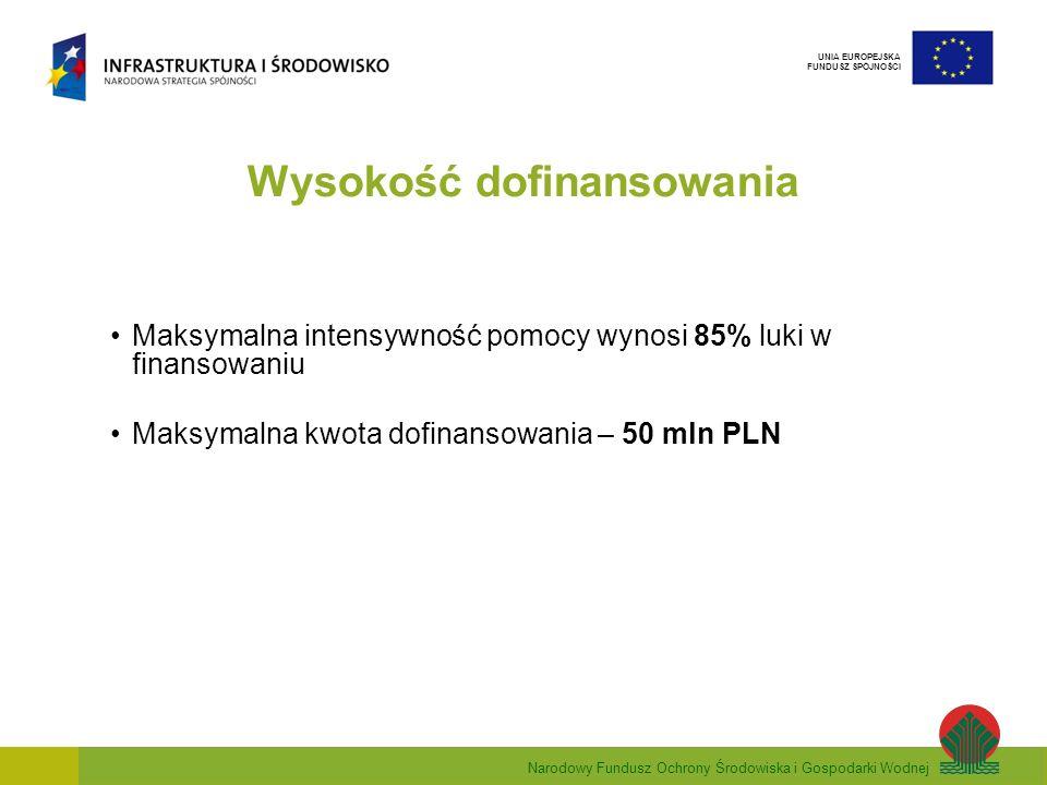 Narodowy Fundusz Ochrony Środowiska i Gospodarki Wodnej UNIA EUROPEJSKA FUNDUSZ SPÓJNOŚCI Wysokość dofinansowania Maksymalna intensywność pomocy wynosi 85% luki w finansowaniu Maksymalna kwota dofinansowania – 50 mln PLN