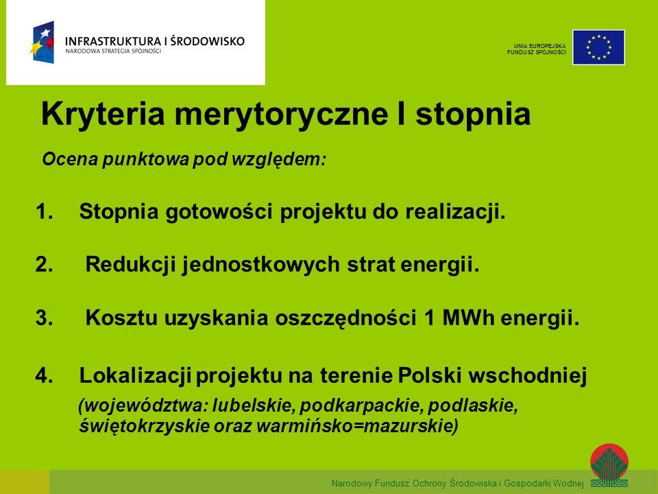 Narodowy Fundusz Ochrony Środowiska i Gospodarki Wodnej UNIA EUROPEJSKA FUNDUSZ SPÓJNOŚCI Kryteria merytoryczne I stopnia Ocena punktowa pod względem: 1.Stopnia gotowości projektu do realizacji.