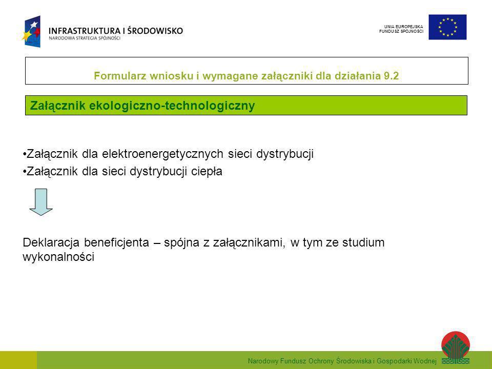 Narodowy Fundusz Ochrony Środowiska i Gospodarki Wodnej UNIA EUROPEJSKA FUNDUSZ SPÓJNOŚCI Załącznik ekologiczno-technologiczny Formularz wniosku i wymagane załączniki dla działania 9.2 Załącznik dla elektroenergetycznych sieci dystrybucji Załącznik dla sieci dystrybucji ciepła Deklaracja beneficjenta – spójna z załącznikami, w tym ze studium wykonalności