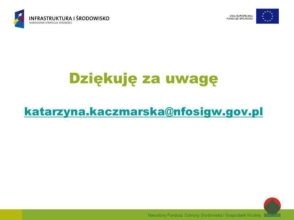Narodowy Fundusz Ochrony Środowiska i Gospodarki Wodnej UNIA EUROPEJSKA FUNDUSZ SPÓJNOŚCI Dziękuję za uwagę katarzyna.kaczmarska@nfosigw.gov.pl katarzyna.kaczmarska@nfosigw.gov.pl
