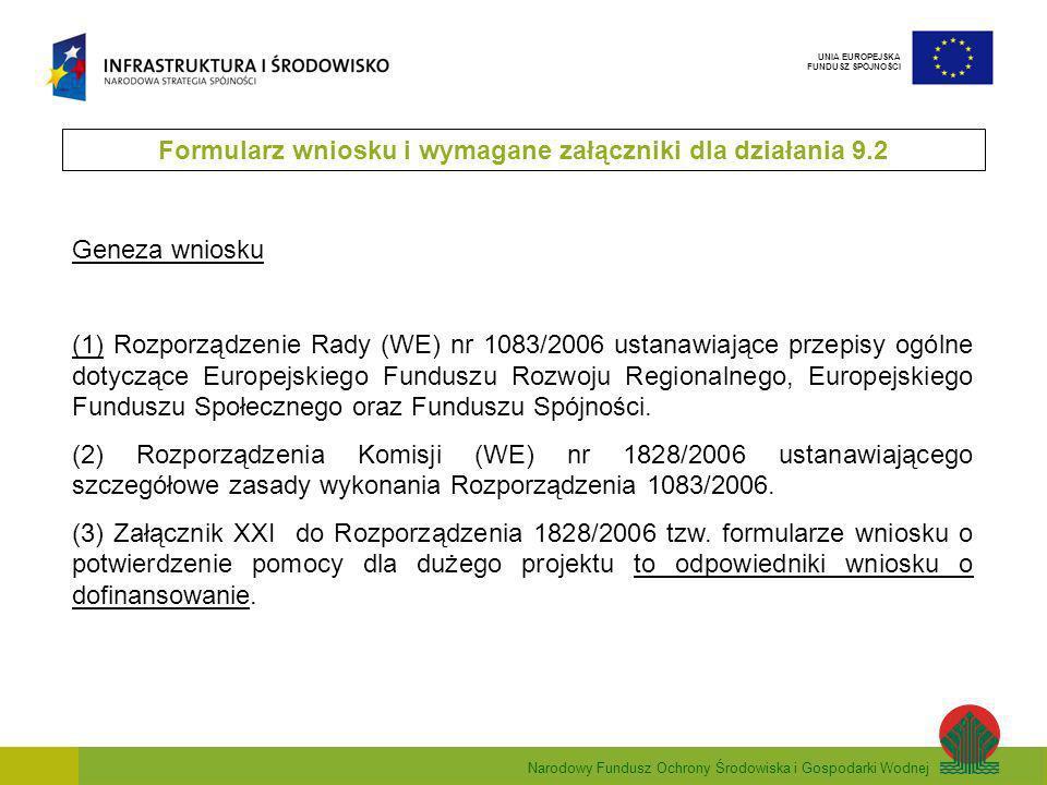 Narodowy Fundusz Ochrony Środowiska i Gospodarki Wodnej UNIA EUROPEJSKA FUNDUSZ SPÓJNOŚCI Geneza wniosku (1) Rozporządzenie Rady (WE) nr 1083/2006 ustanawiające przepisy ogólne dotyczące Europejskiego Funduszu Rozwoju Regionalnego, Europejskiego Funduszu Społecznego oraz Funduszu Spójności.