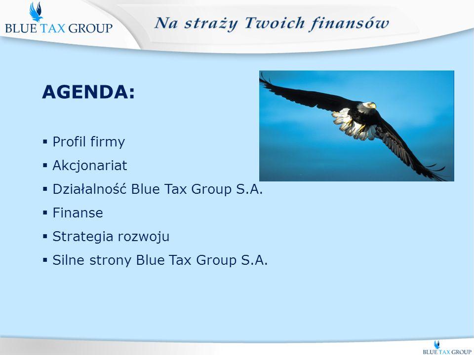 t AGENDA: Profil firmy Akcjonariat Działalność Blue Tax Group S.A.