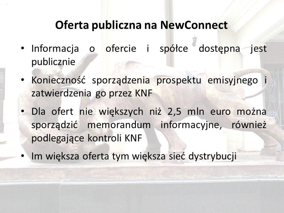 Oferta publiczna na NewConnect Informacja o ofercie i spółce dostępna jest publicznie Konieczność sporządzenia prospektu emisyjnego i zatwierdzenia go przez KNF Dla ofert nie większych niż 2,5 mln euro można sporządzić memorandum informacyjne, również podlegające kontroli KNF Im większa oferta tym większa sieć dystrybucji