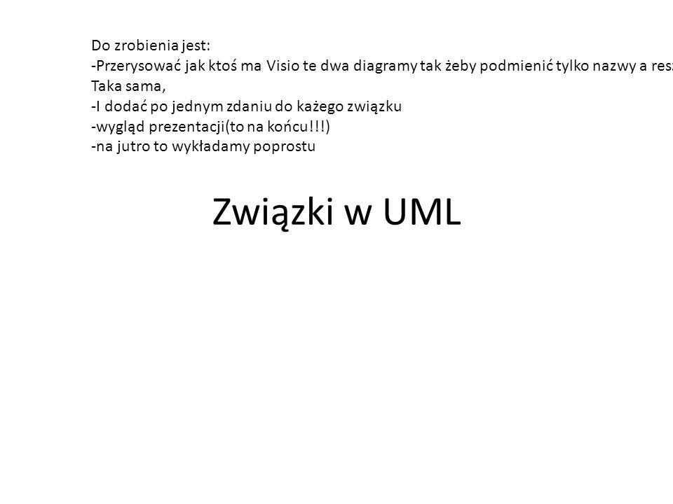 Związki w UML Do zrobienia jest: -Przerysować jak ktoś ma Visio te dwa diagramy tak żeby podmienić tylko nazwy a reszta Taka sama, -I dodać po jednym