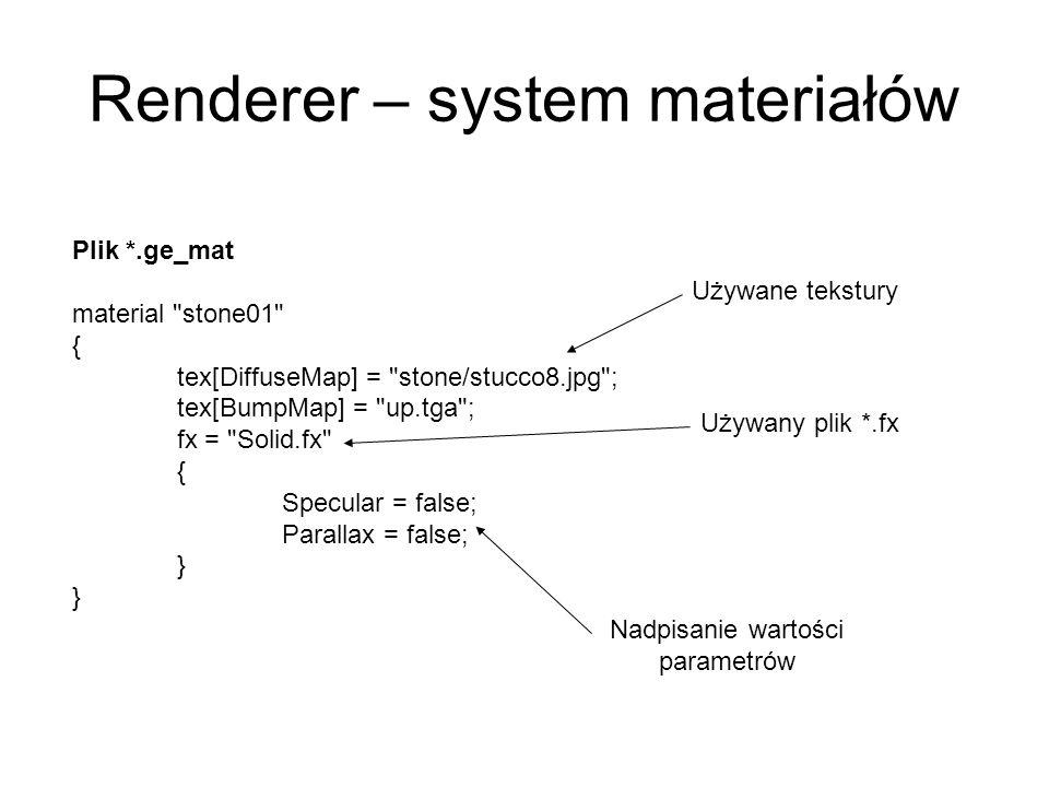 Renderer – system materiałów Plik *.ge_mat material stone01 { tex[DiffuseMap] = stone/stucco8.jpg ; tex[BumpMap] = up.tga ; fx = Solid.fx { Specular = false; Parallax = false; } Używane tekstury Używany plik *.fx Nadpisanie wartości parametrów