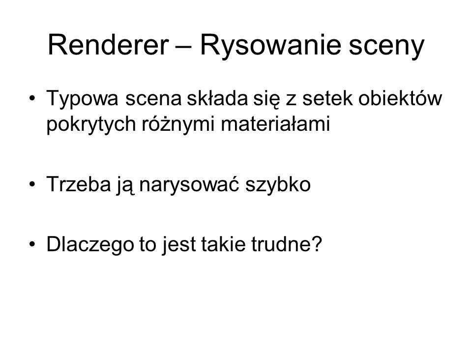 Renderer – Rysowanie sceny Typowa scena składa się z setek obiektów pokrytych różnymi materiałami Trzeba ją narysować szybko Dlaczego to jest takie trudne?