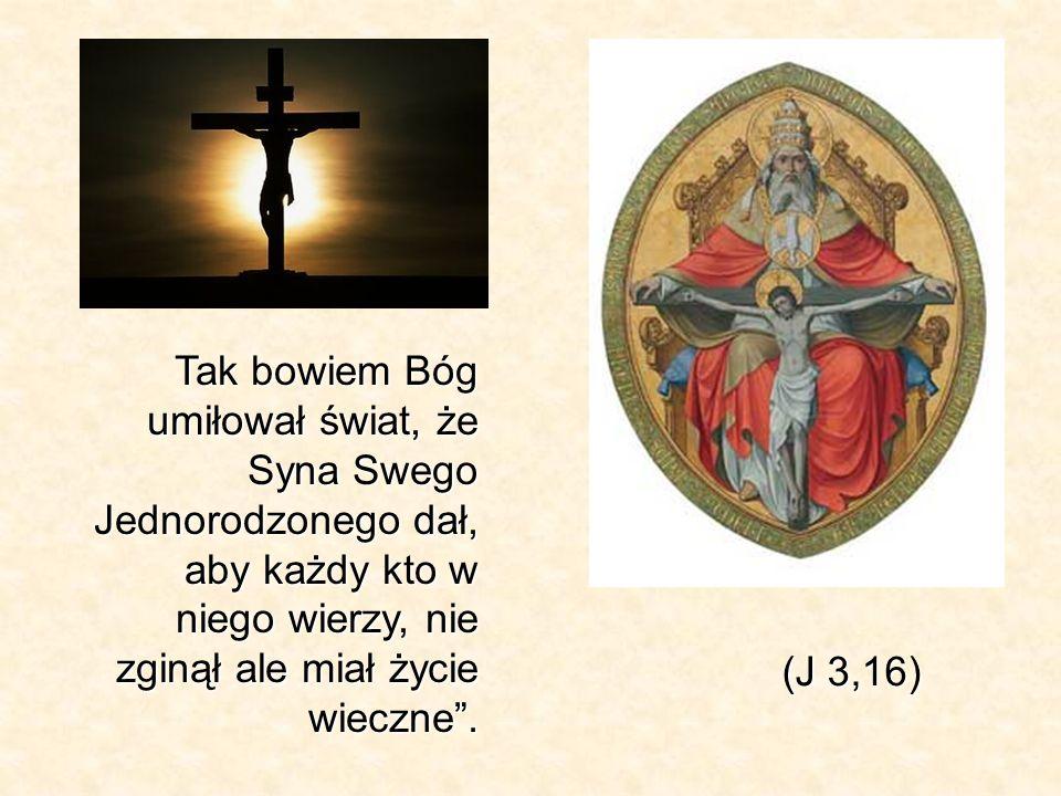 Tak bowiem Bóg umiłował świat, że Syna Swego Jednorodzonego dał, aby każdy kto w niego wierzy, nie zginął ale miał życie wieczne. (J 3,16)