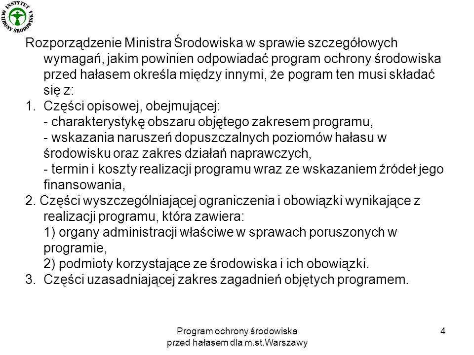 Program ochrony środowiska przed hałasem dla m.st.Warszawy 4 Rozporządzenie Ministra Środowiska w sprawie szczegółowych wymagań, jakim powinien odpowiadać program ochrony środowiska przed hałasem określa między innymi, że pogram ten musi składać się z: 1.