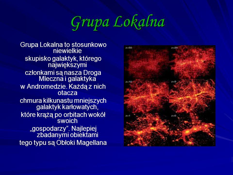 Grupa Lokalna Grupa Lokalna to stosunkowo niewielkie skupisko galaktyk, którego największymi członkami są nasza Droga Mleczna i galaktyka w Andromedzi