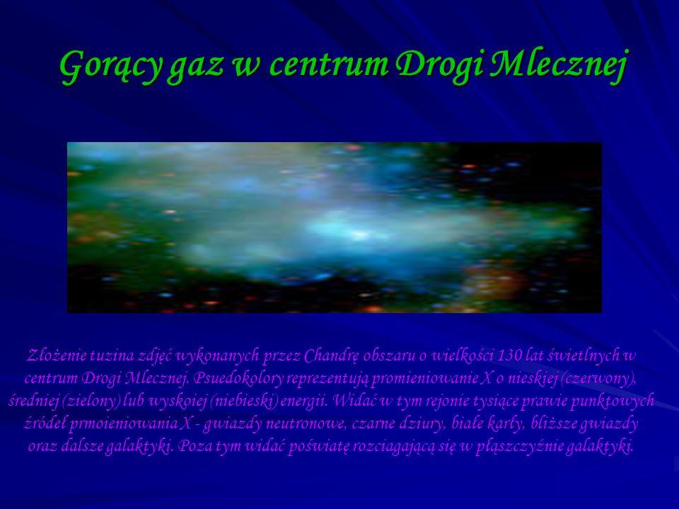 Gorący gaz w centrum Drogi Mlecznej Złożenie tuzina zdjęć wykonanych przez Chandrę obszaru o wielkości 130 lat świetlnych w centrum Drogi Mlecznej. Ps