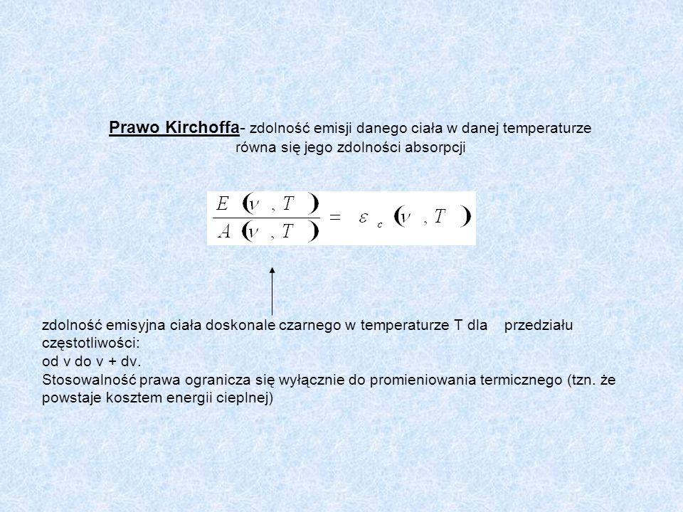 Prawo Kirchoffa- zdolność emisji danego ciała w danej temperaturze równa się jego zdolności absorpcji zdolność emisyjna ciała doskonale czarnego w tem