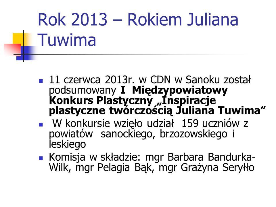 Rok 2013 – Rokiem Juliana Tuwima 11 czerwca 2013r. w CDN w Sanoku został podsumowany I Międzypowiatowy Konkurs Plastyczny Inspiracje plastyczne twórcz