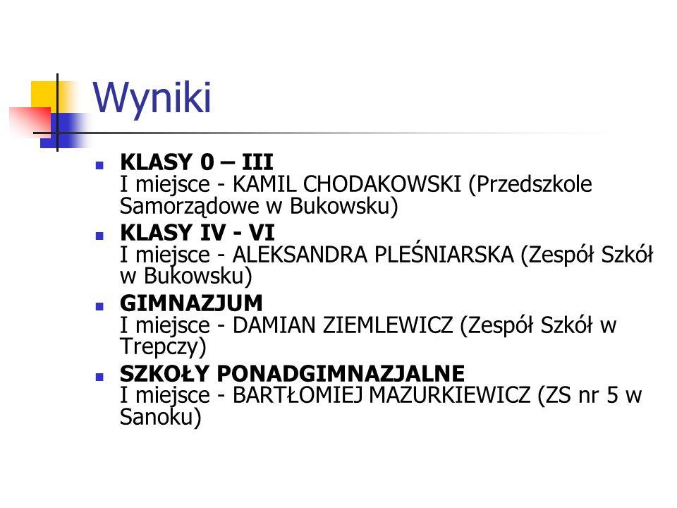 Wyniki KLASY 0 – III I miejsce - KAMIL CHODAKOWSKI (Przedszkole Samorządowe w Bukowsku) KLASY IV - VI I miejsce - ALEKSANDRA PLEŚNIARSKA (Zespół Szkół