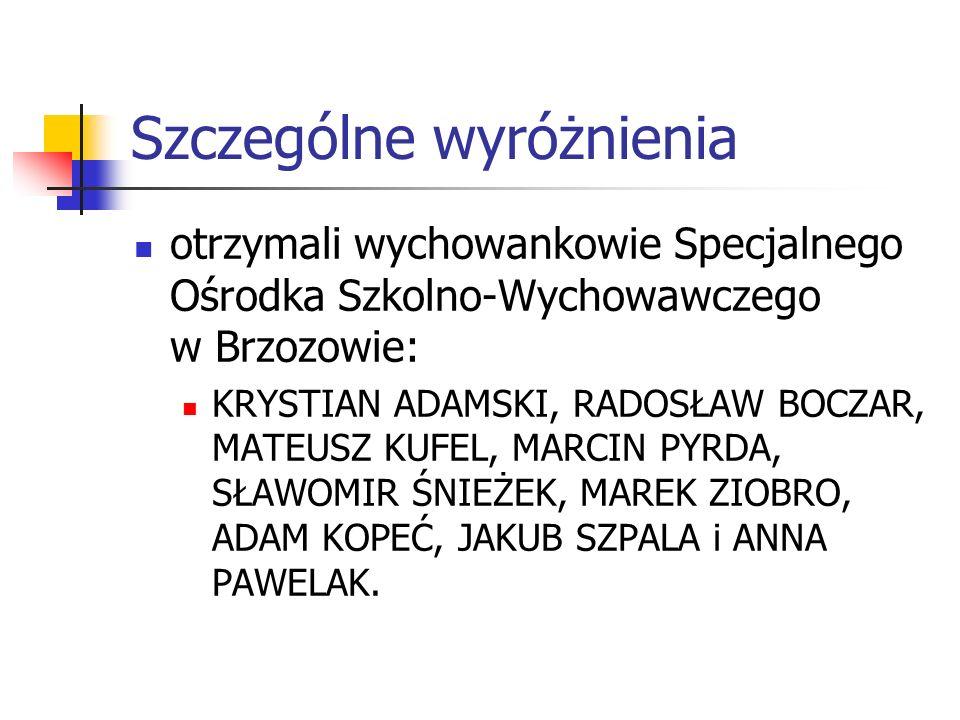 Szczególne wyróżnienia otrzymali wychowankowie Specjalnego Ośrodka Szkolno-Wychowawczego w Brzozowie: KRYSTIAN ADAMSKI, RADOSŁAW BOCZAR, MATEUSZ KUFEL