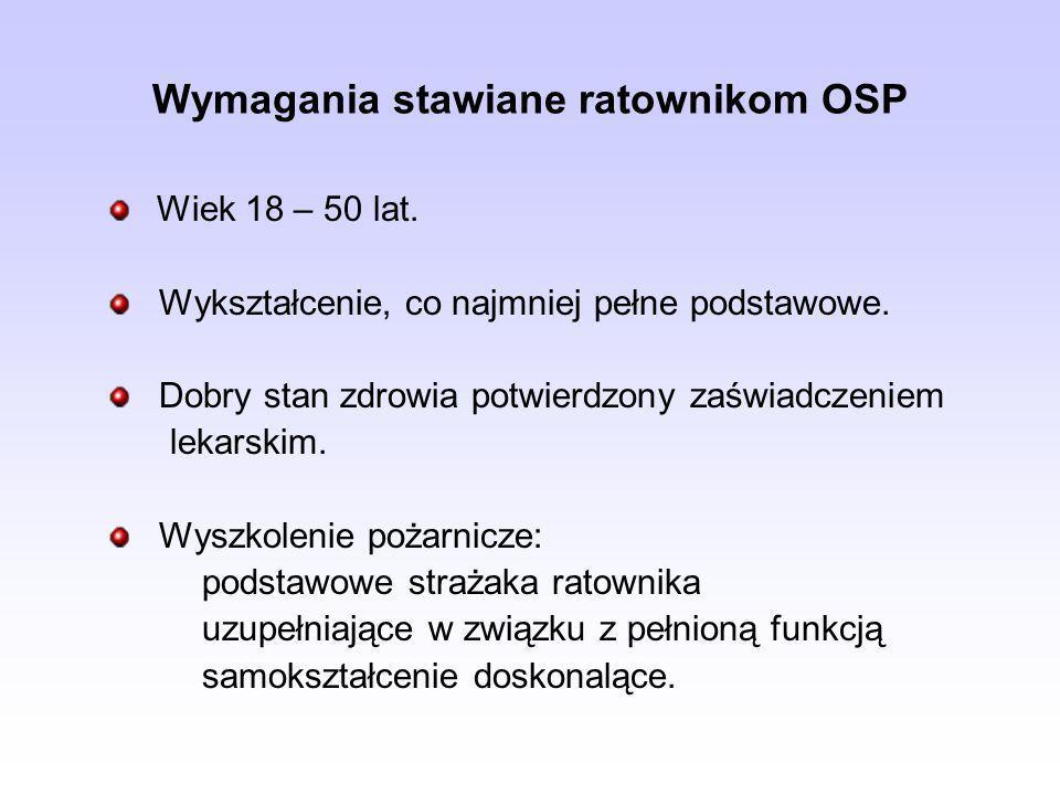Wymagania stawiane ratownikom OSP Wiek 18 – 50 lat. Wykształcenie, co najmniej pełne podstawowe. Dobry stan zdrowia potwierdzony zaświadczeniem lekars