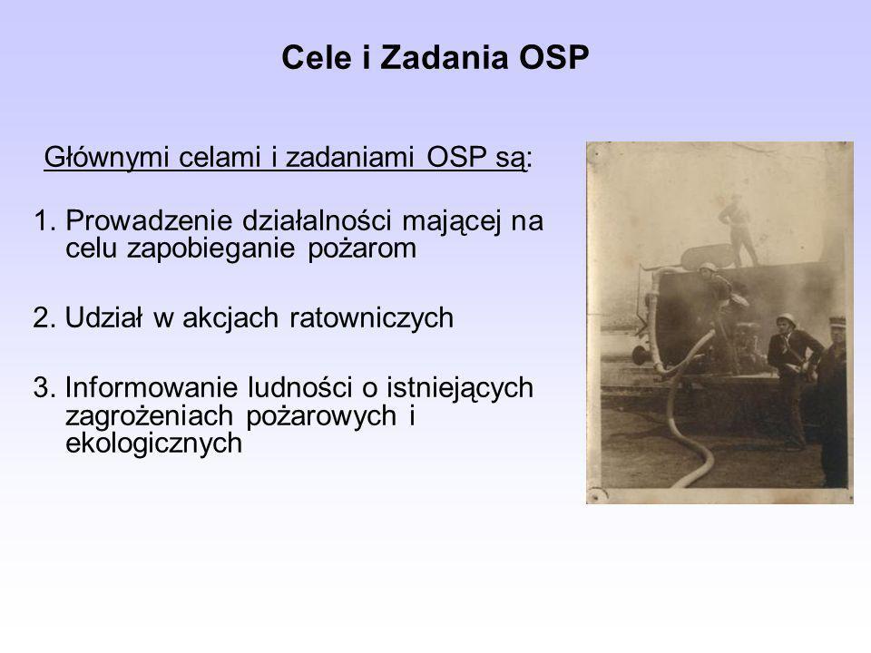Cele i Zadania OSP Głównymi celami i zadaniami OSP są: 1.Prowadzenie działalności mającej na celu zapobieganie pożarom 2. Udział w akcjach ratowniczyc