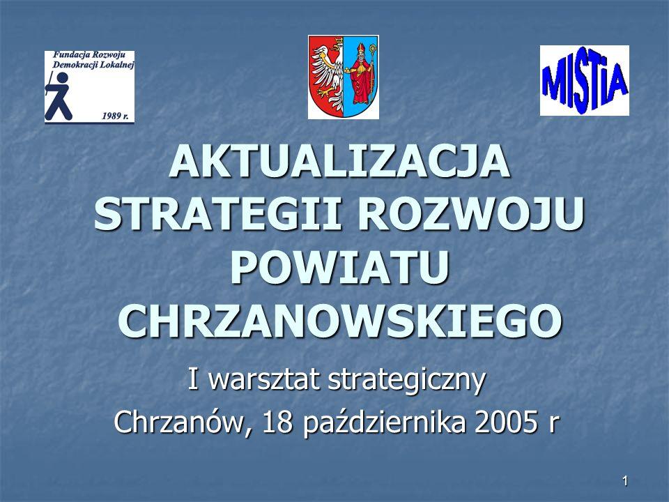 1 AKTUALIZACJA STRATEGII ROZWOJU POWIATU CHRZANOWSKIEGO I warsztat strategiczny Chrzanów, 18 października 2005 r