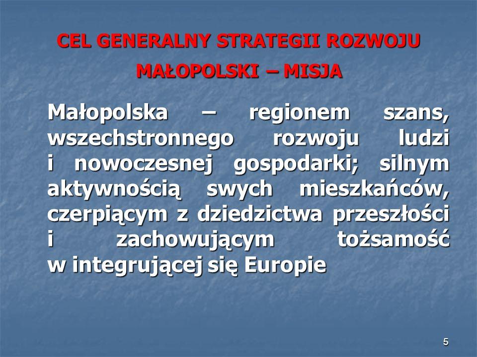 5 CEL GENERALNY STRATEGII ROZWOJU MAŁOPOLSKI – MISJA Małopolska – regionem szans, wszechstronnego rozwoju ludzi i nowoczesnej gospodarki; silnym aktyw