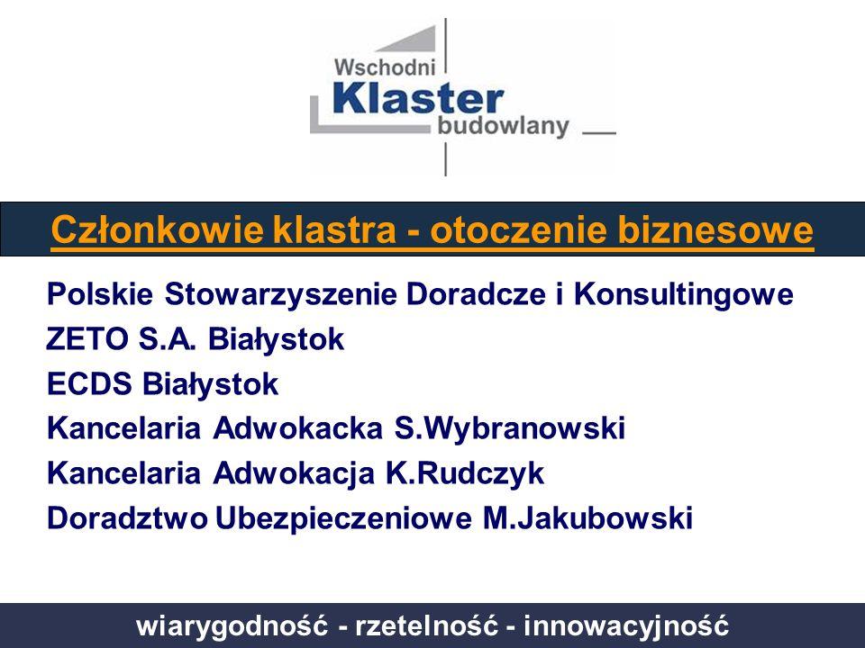 wiarygodność - rzetelność - innowacyjność Członkowie klastra - otoczenie biznesowe Polskie Stowarzyszenie Doradcze i Konsultingowe ZETO S.A. Białystok