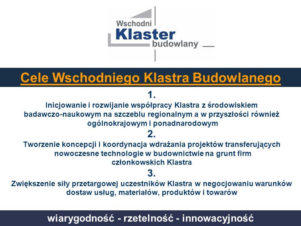 wiarygodność - rzetelność - innowacyjność Cele Wschodniego Klastra Budowlanego 1. Inicjowanie i rozwijanie współpracy Klastra z środowiskiem badawczo-