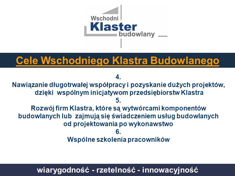 wiarygodność - rzetelność - innowacyjność Cele Wschodniego Klastra Budowlanego 4. Nawiązanie długotrwałej współpracy i pozyskanie dużych projektów, dz