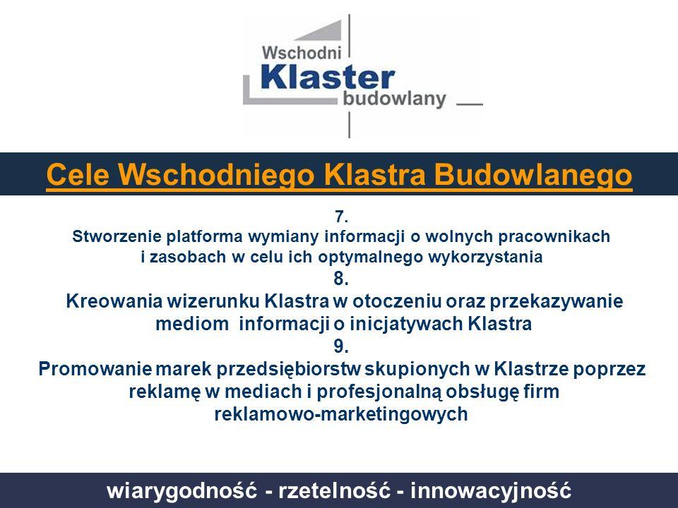 wiarygodność - rzetelność - innowacyjność Cele Wschodniego Klastra Budowlanego 7. Stworzenie platforma wymiany informacji o wolnych pracownikach i zas