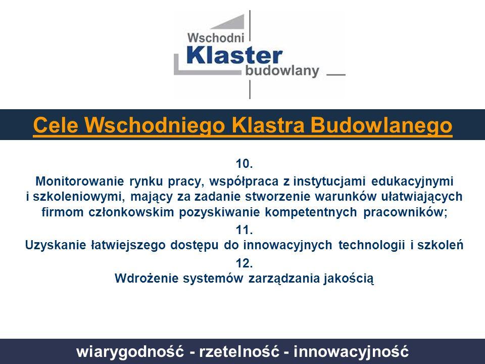 wiarygodność - rzetelność - innowacyjność Cele Wschodniego Klastra Budowlanego 10. Monitorowanie rynku pracy, współpraca z instytucjami edukacyjnymi i