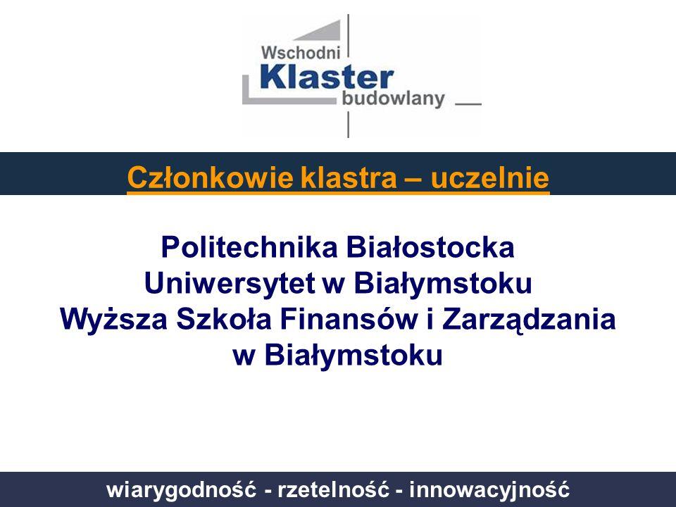 wiarygodność - rzetelność - innowacyjność Politechnika Białostocka Uniwersytet w Białymstoku Wyższa Szkoła Finansów i Zarządzania w Białymstoku Członk