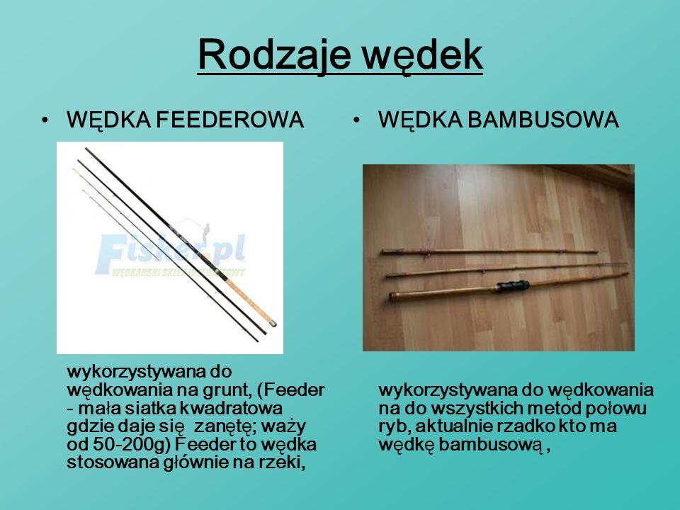 Rodzaje wędek WĘDKA FEEDEROWA wykorzystywana do wędkowania na grunt, (Feeder - mała siatka kwadratowa gdzie daje się zanętę; waży od 50-200g) Feeder t