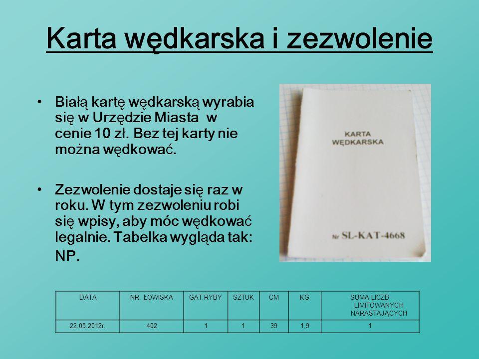 Karta wędkarska i zezwolenie Zezwolenie dostaje się raz w roku. W tym zezwoleniu robi się wpisy, aby móc wędkować legalnie. Tabelka wygląda tak: NP. B