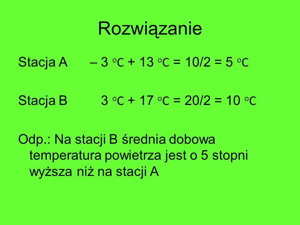 Rozwiązanie Stacja A – 3 o C + 13 o C = 10/2 = 5 o C Stacja B 3 o C + 17 o C = 20/2 = 10 o C Odp.: Na stacji B średnia dobowa temperatura powietrza jest o 5 stopni wyższa niż na stacji A