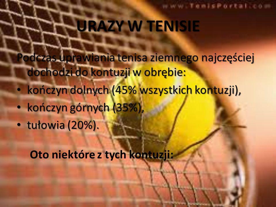 URAZY W TENISIE Podczas uprawiania tenisa ziemnego najczęściej dochodzi do kontuzji w obrębie: kończyn dolnych (45% wszystkich kontuzji), kończyn doln