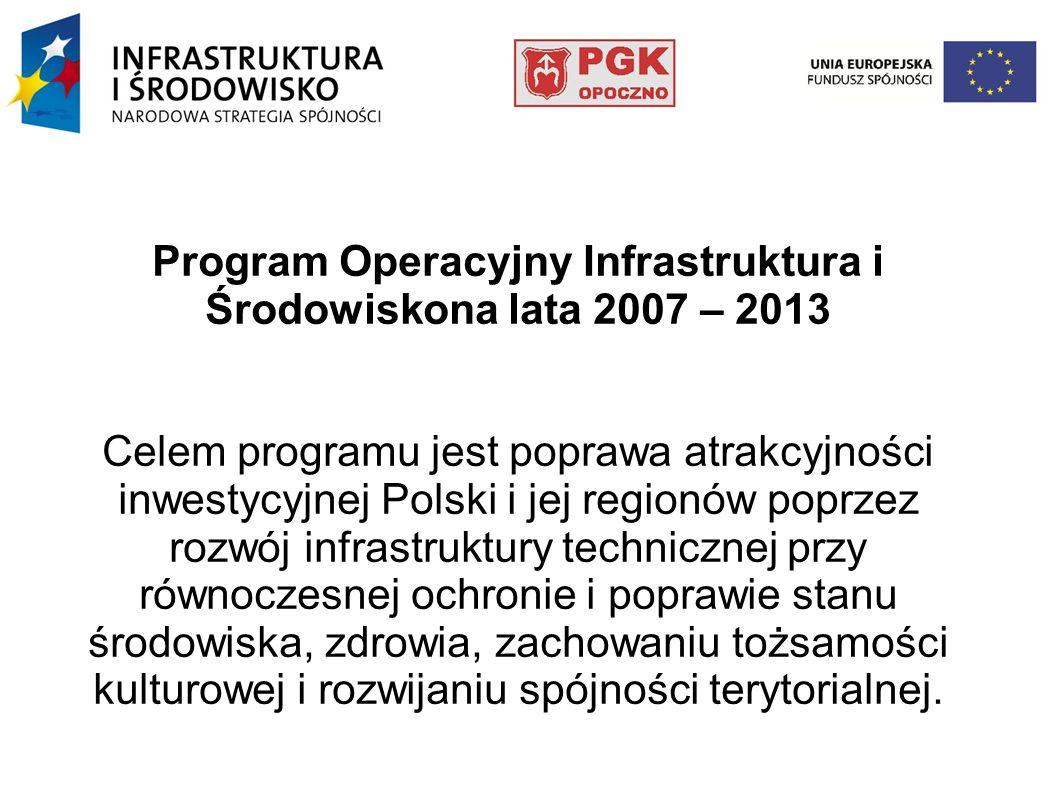 Program Operacyjny Infrastruktura i Środowiskona lata 2007 – 2013 Celem programu jest poprawa atrakcyjności inwestycyjnej Polski i jej regionów poprze