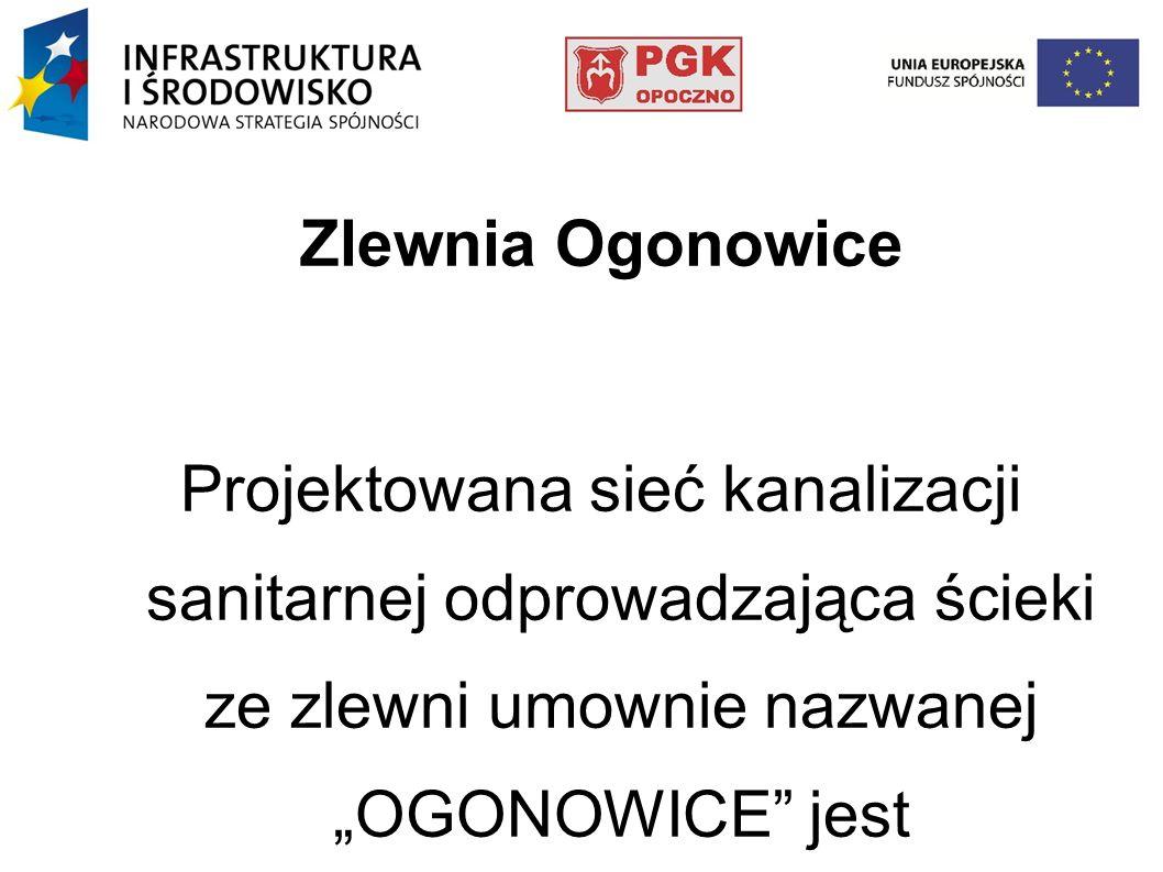Zlewnia Ogonowice Projektowana sieć kanalizacji sanitarnej odprowadzająca ścieki ze zlewni umownie nazwanej OGONOWICE jest zlokalizowana w sołectwach