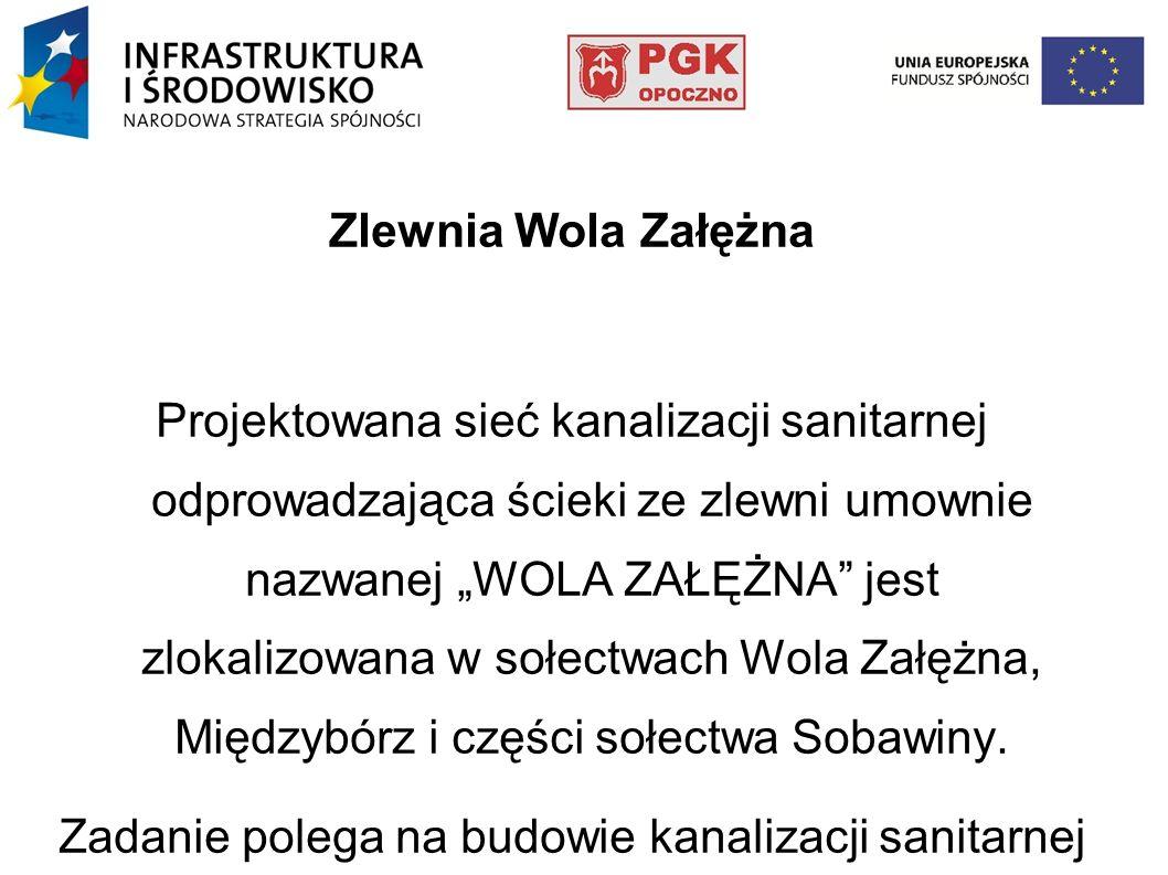 Zlewnia Wola Załężna Projektowana sieć kanalizacji sanitarnej odprowadzająca ścieki ze zlewni umownie nazwanej WOLA ZAŁĘŻNA jest zlokalizowana w sołec