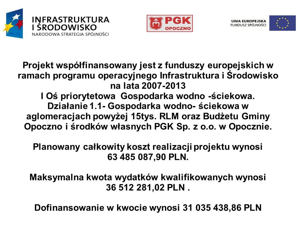 Projekt współfinansowany jest z funduszy europejskich w ramach programu operacyjnego Infrastruktura i Środowisko na lata 2007-2013 I Oś priorytetowa G