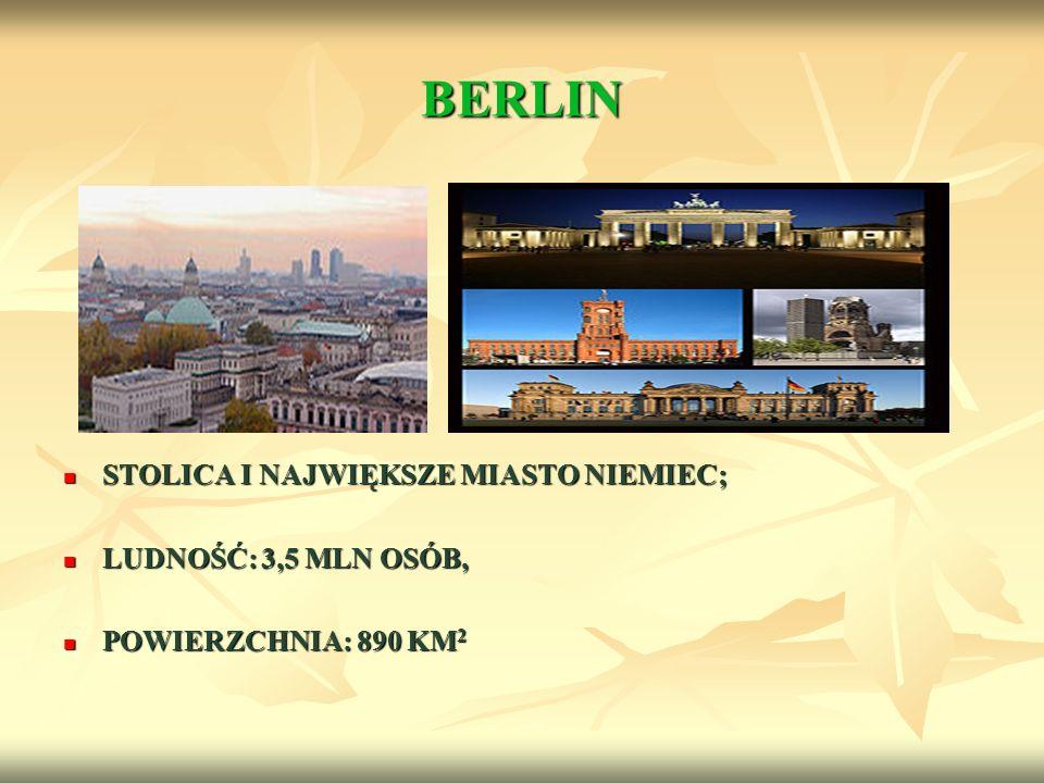 BERLIN STOLICA I NAJWIĘKSZE MIASTO NIEMIEC; STOLICA I NAJWIĘKSZE MIASTO NIEMIEC; LUDNOŚĆ: 3,5 MLN OSÓB, LUDNOŚĆ: 3,5 MLN OSÓB, POWIERZCHNIA: 890 KM 2
