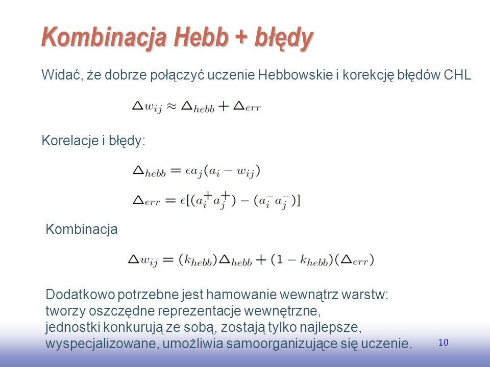 EE141 10 Kombinacja Hebb + błędy Widać, że dobrze połączyć uczenie Hebbowskie i korekcję błędów CHL Korelacje i błędy: Kombinacja Dodatkowo potrzebne