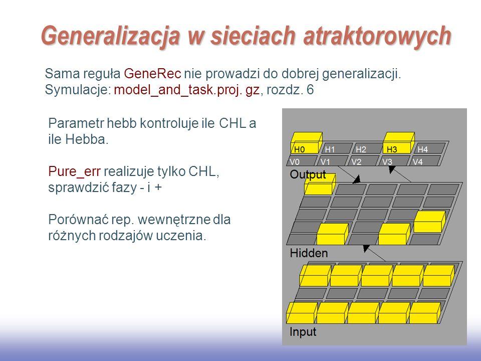 EE141 18 Generalizacja w sieciach atraktorowych Sama reguła GeneRec nie prowadzi do dobrej generalizacji. Symulacje: model_and_task.proj. gz, rozdz. 6