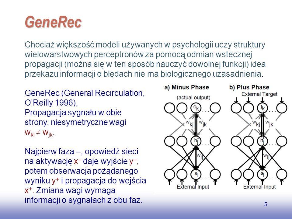 EE141 5 GeneRec Chociaż większość modeli używanych w psychologii uczy struktury wielowarstwowych perceptronów za pomocą odmian wstecznej propagacji (m