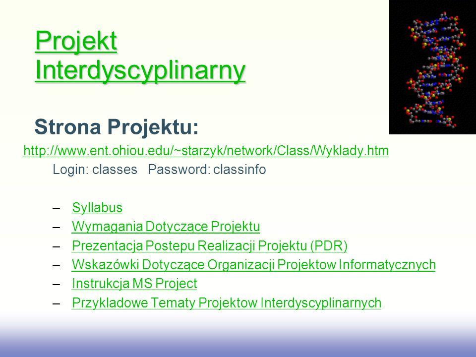 EE141 Strona Projektu: http://www.ent.ohiou.edu/~starzyk/network/Class/Wyklady.htm Login: classesPassword: classinfo – SyllabusSyllabus – Wymagania Do