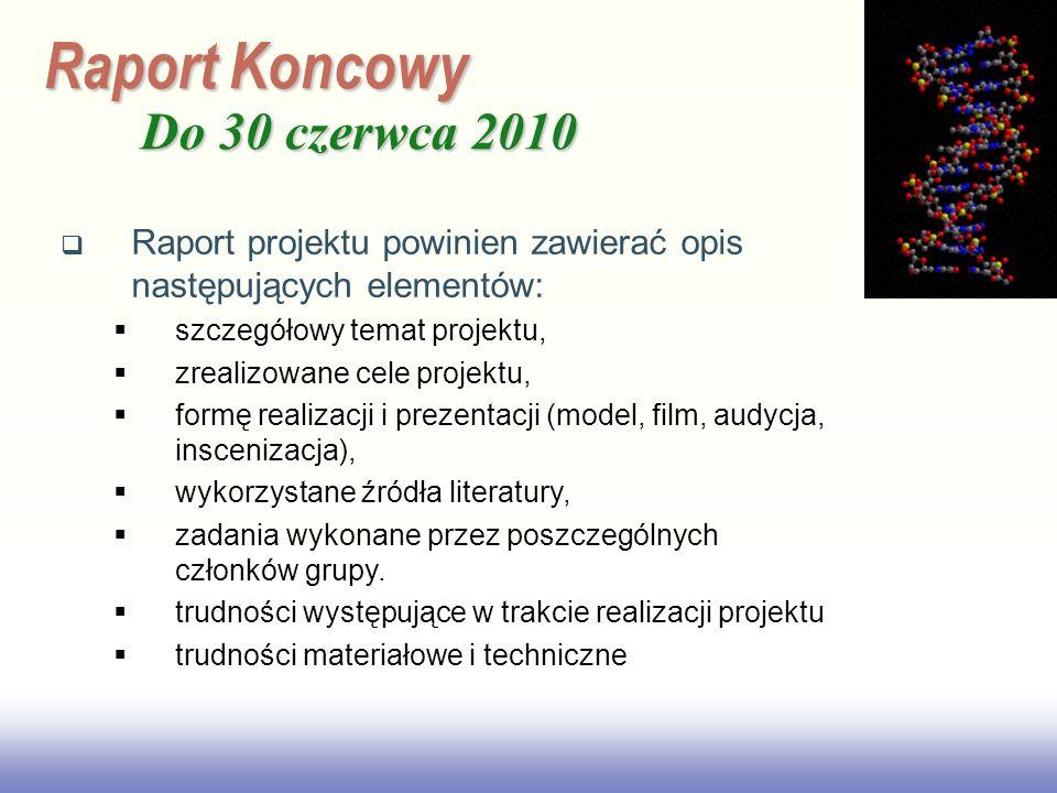 EE141 Raport Koncowy Do 30 czerwca 2010 Raport projektu powinien zawierać opis następujących elementów: szczegółowy temat projektu, zrealizowane cele