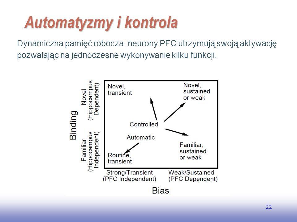 EE141 22 Automatyzmy i kontrola Dynamiczna pamięć robocza: neurony PFC utrzymują swoją aktywację pozwalając na jednoczesne wykonywanie kilku funkcji.