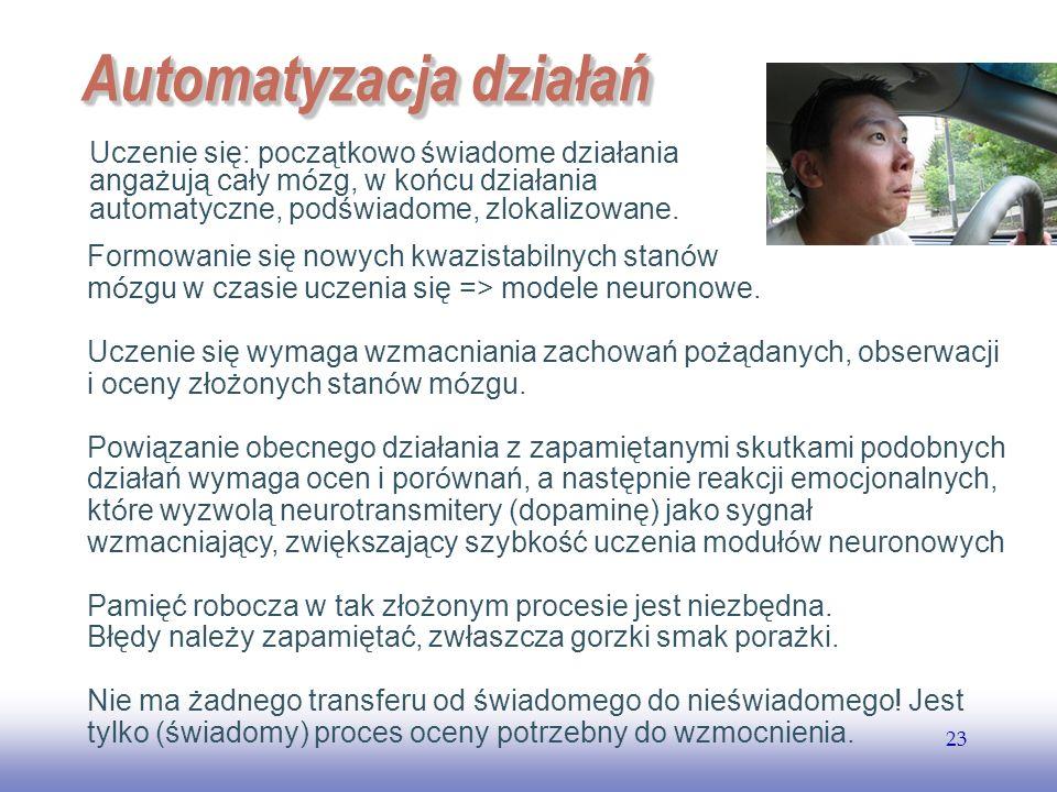 EE141 23 Automatyzacja działań Uczenie się: początkowo świadome działania angażują cały m ó zg, w końcu działania automatyczne, podświadome, zlokalizo