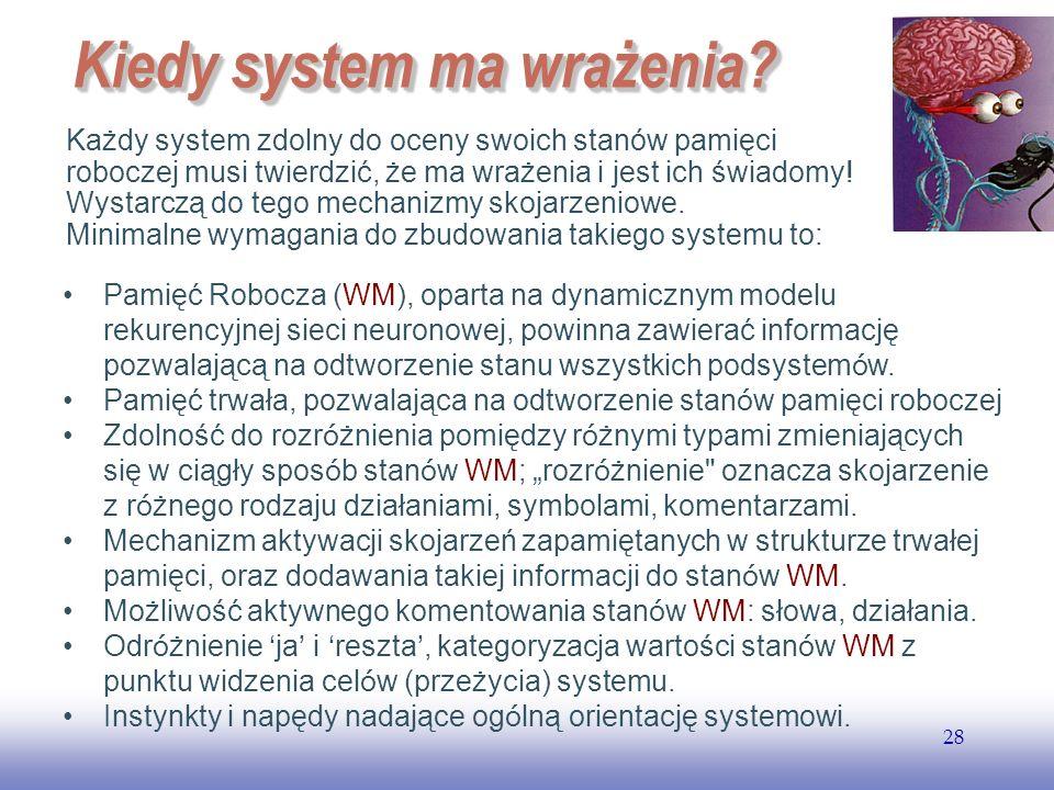 EE141 28 Kiedy system ma wrażenia? Każdy system zdolny do oceny swoich stanów pamięci roboczej musi twierdzić, że ma wrażenia i jest ich świadomy! Wys