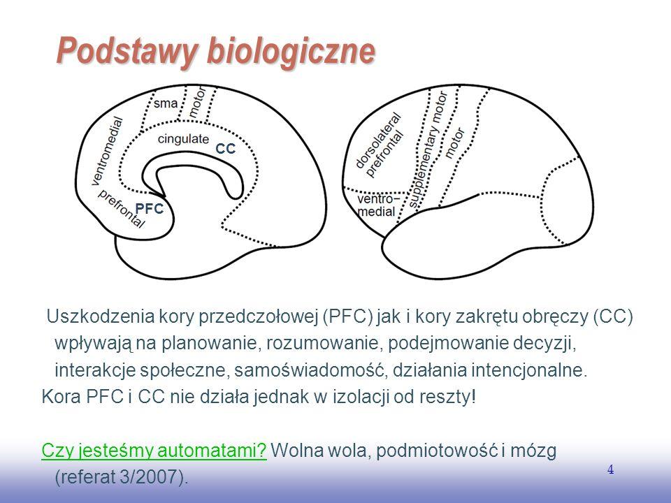 EE141 4 Podstawy biologiczne Uszkodzenia kory przedczołowej (PFC) jak i kory zakrętu obręczy (CC) wpływają na planowanie, rozumowanie, podejmowanie de