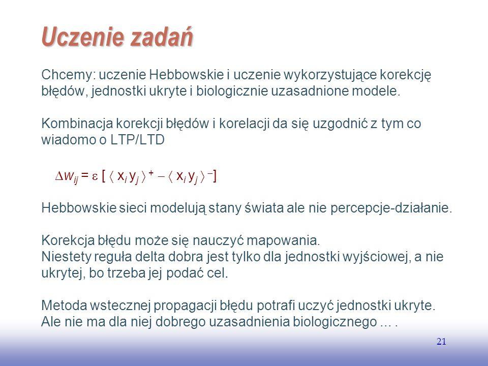 EE141 21 Uczenie zadań Chcemy: uczenie Hebbowskie i uczenie wykorzystujące korekcję błędów, jednostki ukryte i biologicznie uzasadnione modele. Kombin