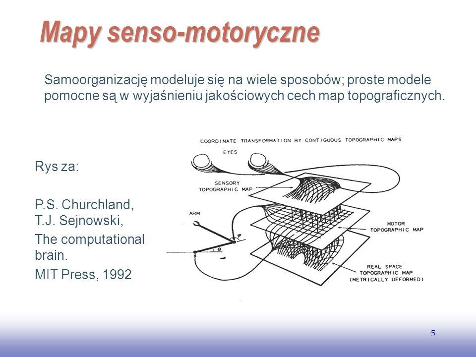 EE141 5 Mapy senso-motoryczne Samoorganizację modeluje się na wiele sposobów; proste modele pomocne są w wyjaśnieniu jakościowych cech map topograficz