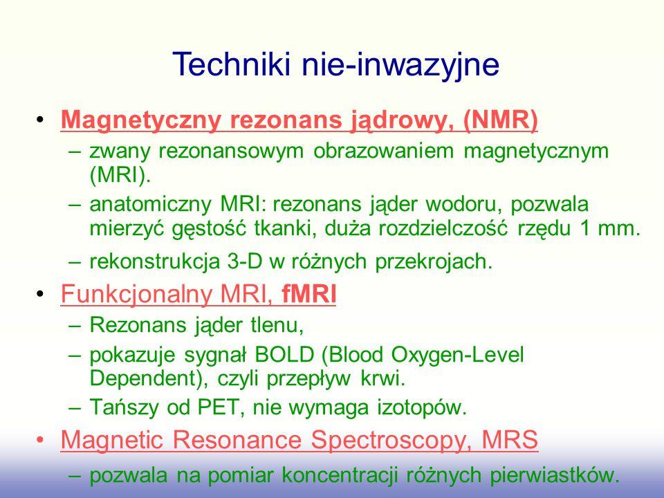 Magnetyczny rezonans jądrowy, (NMR) –zwany rezonansowym obrazowaniem magnetycznym (MRI). –anatomiczny MRI: rezonans jąder wodoru, pozwala mierzyć gęst